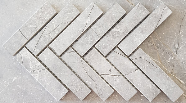 Fracture Mid Grey Herringbone Lappato Mosaic 280x297x10mm