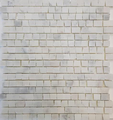 Mezzano Carrara C Antique Cut Honed Mosaic 305x305x15mm
