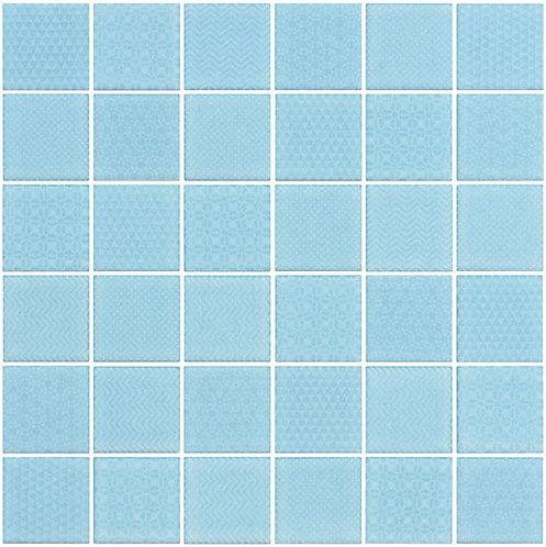Cape Cod Aqua Glazed Porcelain Mosaic 297x297x4mm (47x47mm chip)