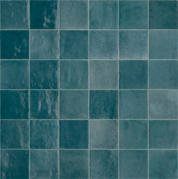 Rose Bay Ocean Blue Gloss Ceramic Zellige Tile 100x100x10mm