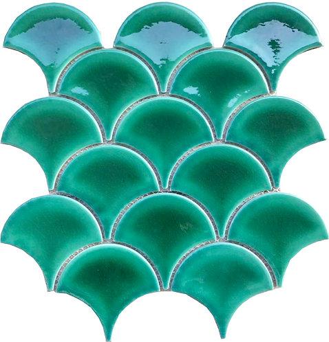 Freshwater Emerald Fan Gloss Mosaic 259x273x7mm