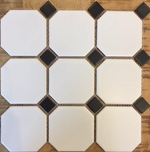 Octagon White With Black Dot Ceramic Mosaic 300x300mm