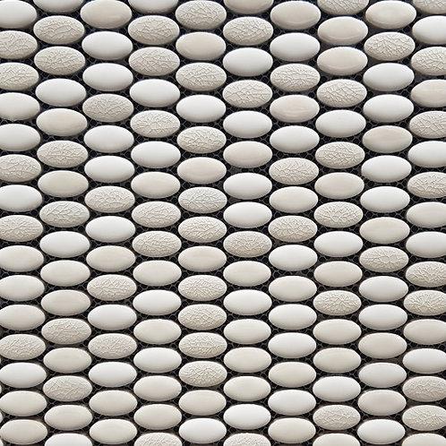 Gypsy White Mix Mini Oval Porcelain Glazed Mosaic 308x294mm