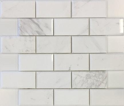 San Remo Calacatta Brick Polished Bevelled Mosaic 298x298X10mm
