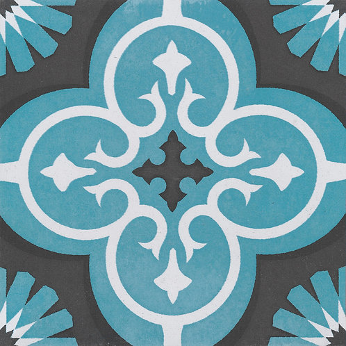 Artisan Marrakesh Turquoise/Black Moroccan 200x200x7mm