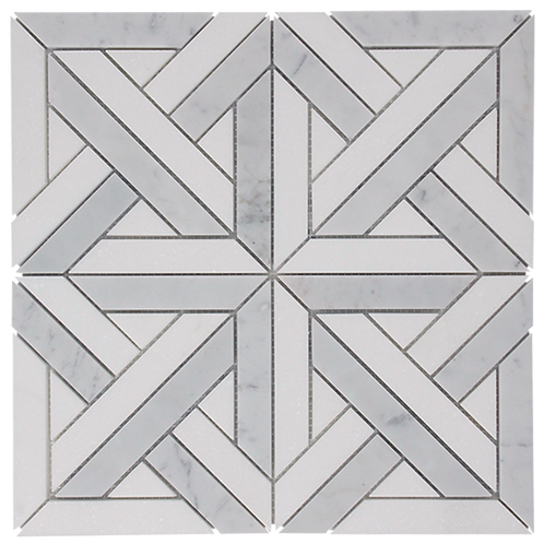 Stone Parquet Carrara And Thassos Honed 305x305x10mm