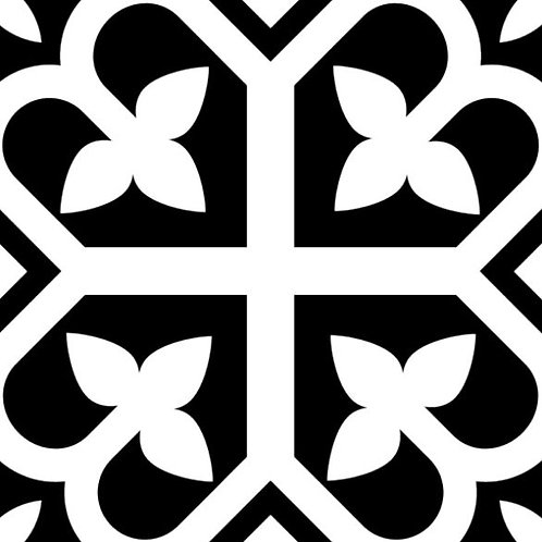 Picasso Bloom Black Matt Encaustic Look 200x200x7mm