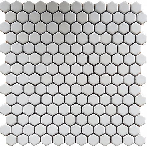 Gypsy White Hexagon Porcelain Gloss Mosaic 305x302mm