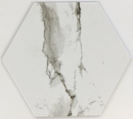 Carrara Hexagonal Matt Pressed Edge Porcelain 200x230x10mm