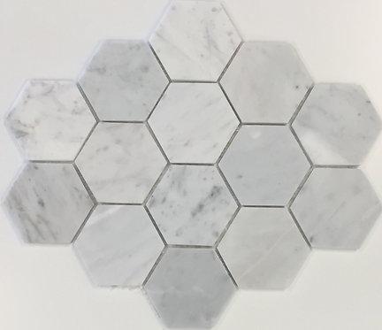 San Remo Carrara Hexagon Honed Mosaic 305x285x6mm