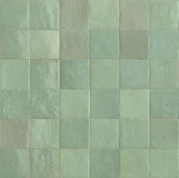 Rose Bay Light Green Gloss Ceramic Zellige Tile 100x100x10mm