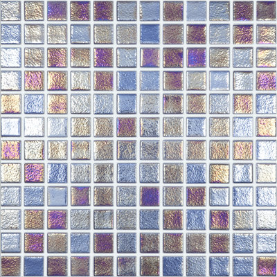 Vision Light Bronze/Blue Glass Pool Mosaic 315x315x4mm (25x25mm chip) Dot Mesh