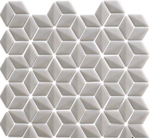 Rumour 3D Light Grey Recycled Glass Mosaic 280x283x6mm (Chip 24x48mm)