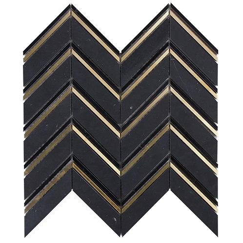Soprano Nero Marquina & Brass Chevron Mosaic 283x273x10mm