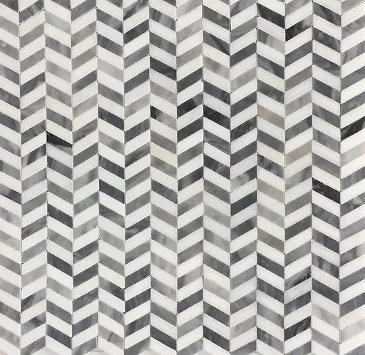 Ribbon Chevy Thassos and Bardiglio Mosaic 305x300mm