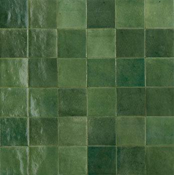 Rose Bay Emerald Green Gloss Ceramic Zellige Tile 100x100x10mm