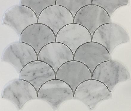San Remo Carrara Fan Polished Mosaic 235x245x6mm