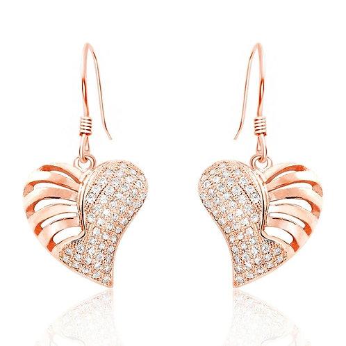 Skeletal Heart Earrings - Rose Gold