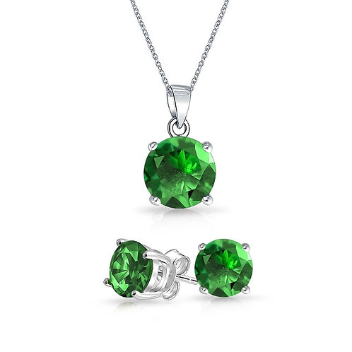 Silver Round Solitaire Necklace Set - Emerald