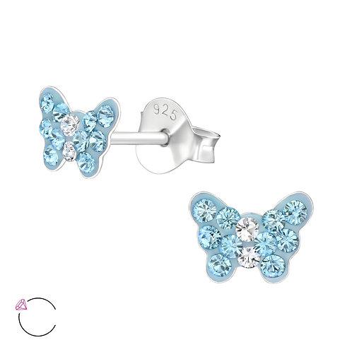 Crystal Butterfly Earrings - Topaz`