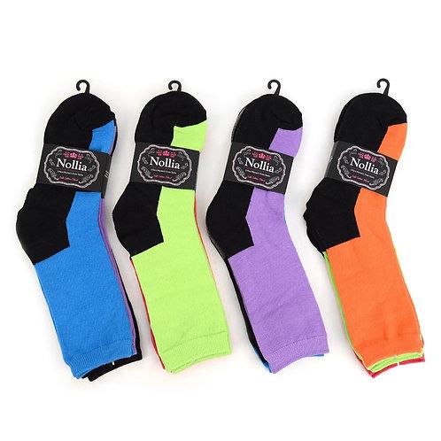 Women's Assorted Plain Crew Socks - 3 Pairs