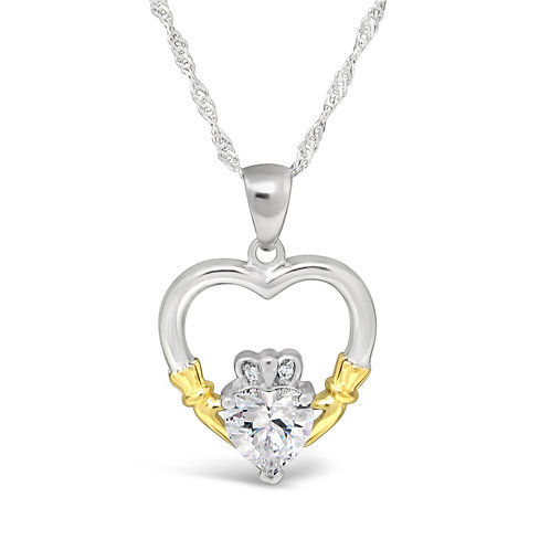 Claddagh Heart Stone Necklace - Cubic Zirconia