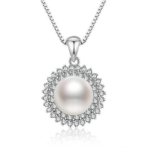 Silver Sun Pearl Necklace