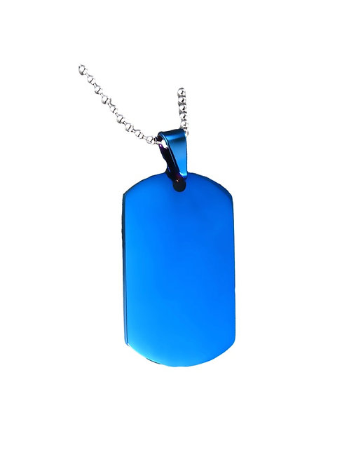 Steel Dog Tag Chain - Blue