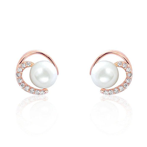 Gorgeous Circle Pearl CZ Earrings - Rose Gold