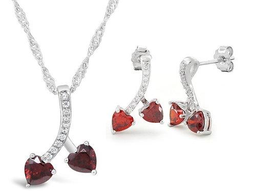 Silver Cherry Hearts Necklace Set - Garnet