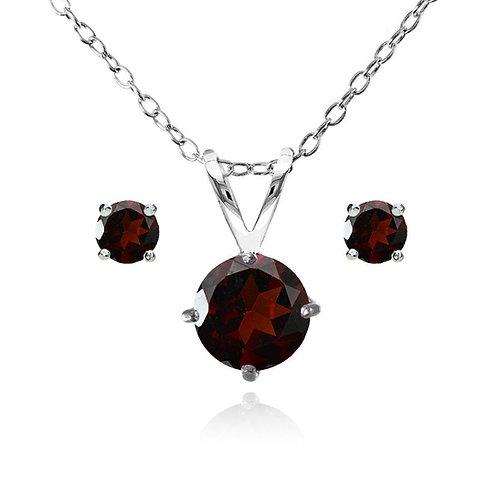 Silver Round Solitaire Necklace Set - Garnet