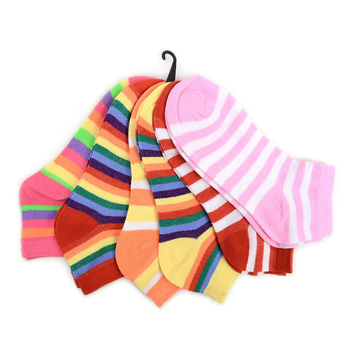 Women's Colorful Stripe Ankle Socks - 6 Pairs