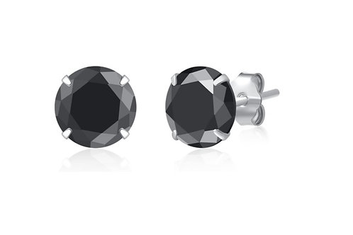 Silver Round Birthstone Earrings - Black Onyx