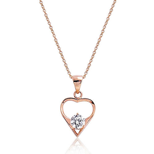 Stone Rest Heart Necklace - Rose Gold