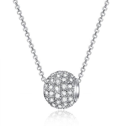 Silver CZ Ball Necklace