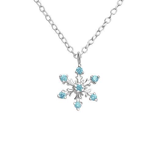 Silver Snowflake Necklace - Aqua CZ