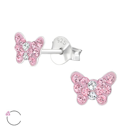 Crystal Butterfly Earrings - Pink