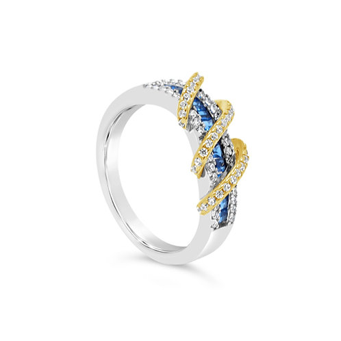 Exotic Twisted Spinel Ring - Gold & Blue