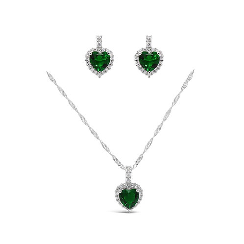 Luxury Heart Necklace Set - Emerald
