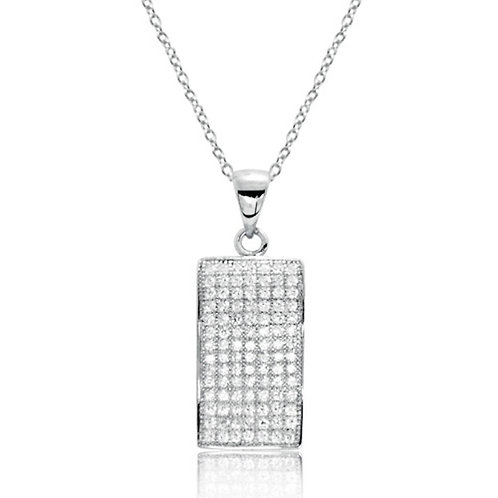 Fancy Rectangle CZ Pave Silver Necklace