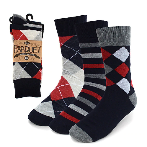 Men's Assorted Grey & Red Casual Fancy Socks - 3 Pack