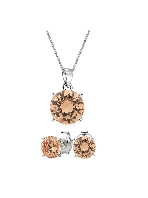 Silver Round Solitaire Necklace Set - Champagne