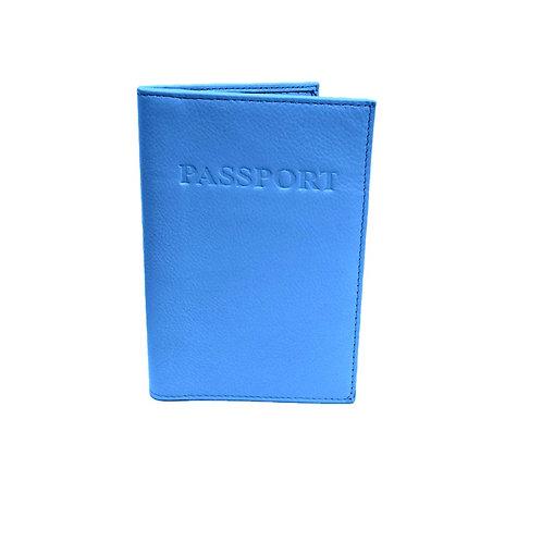 RFID Genuine Leather Passport Wallet - Blue