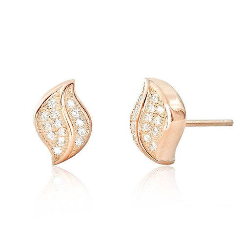 CZ Leaf Earrings - Rose Gold