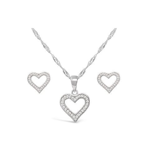 Hollow Heart Necklace Set
