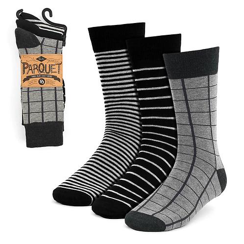 Men's Assorted Black Striped Fancy Dress Socks - 3 Pack