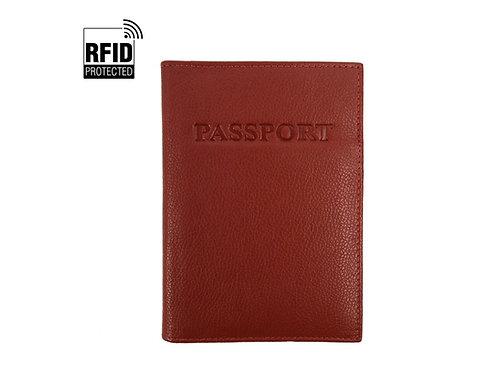 RFID Genuine Leather Passport Wallet - Brown