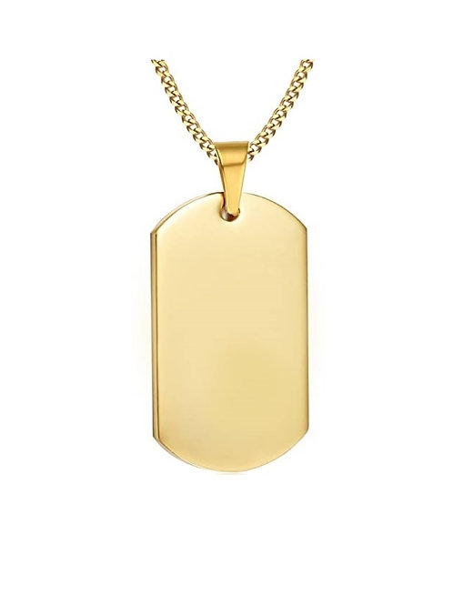 Steel Dog Tag Chain - Gold