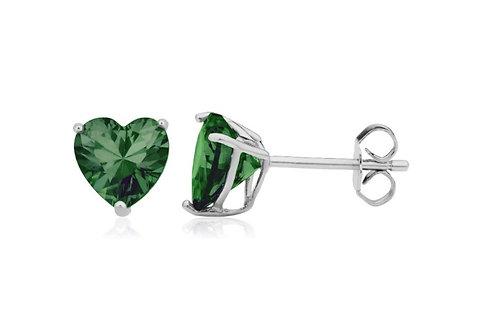 Silver Heart Birthstone Earrings - May (Emerald)