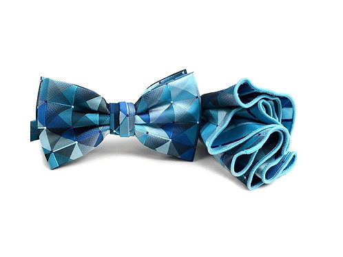 Pattern Banded Bow Tie Set - Blue/Green